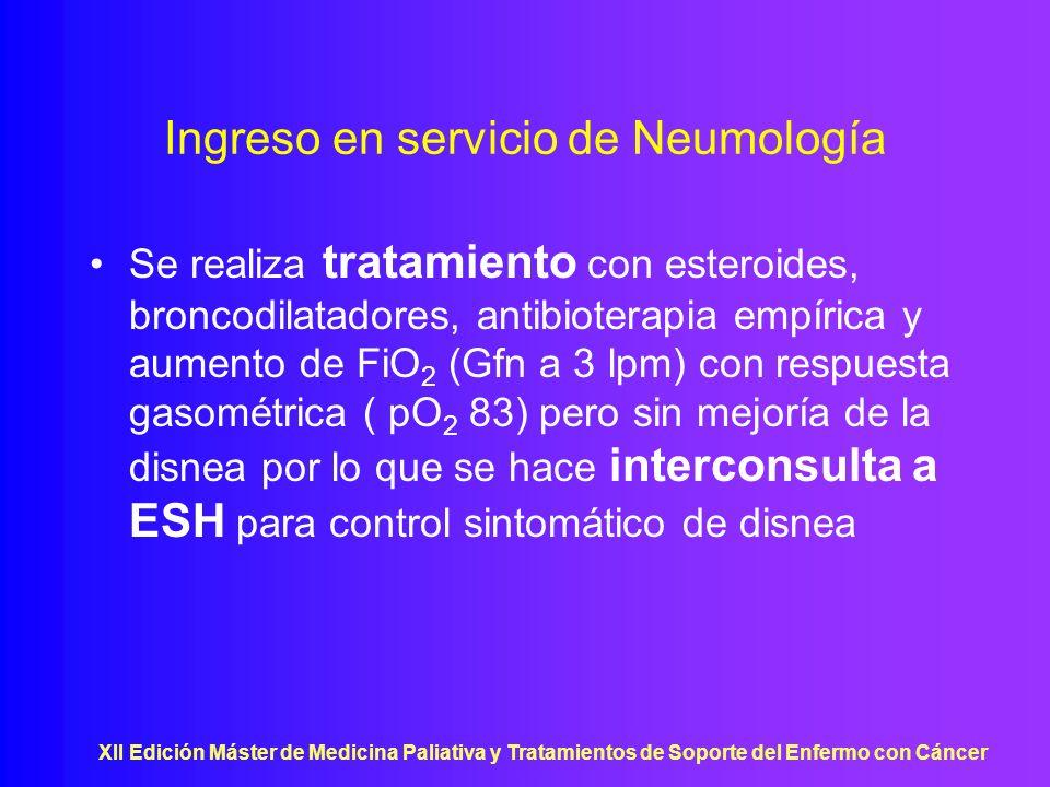 Ingreso en servicio de Neumología