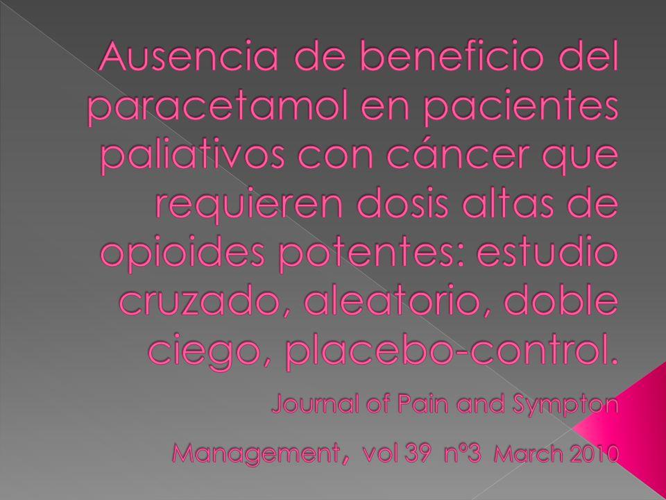 Ausencia de beneficio del paracetamol en pacientes paliativos con cáncer que requieren dosis altas de opioides potentes: estudio cruzado, aleatorio, doble ciego, placebo-control.