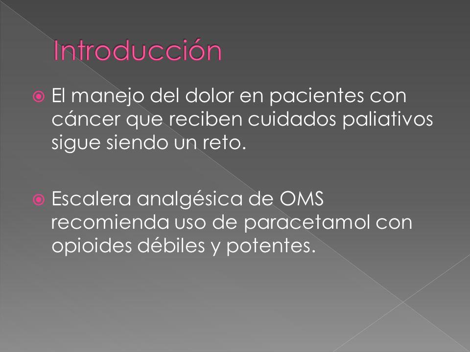 IntroducciónEl manejo del dolor en pacientes con cáncer que reciben cuidados paliativos sigue siendo un reto.