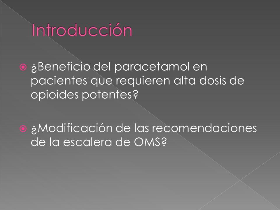 Introducción ¿Beneficio del paracetamol en pacientes que requieren alta dosis de opioides potentes