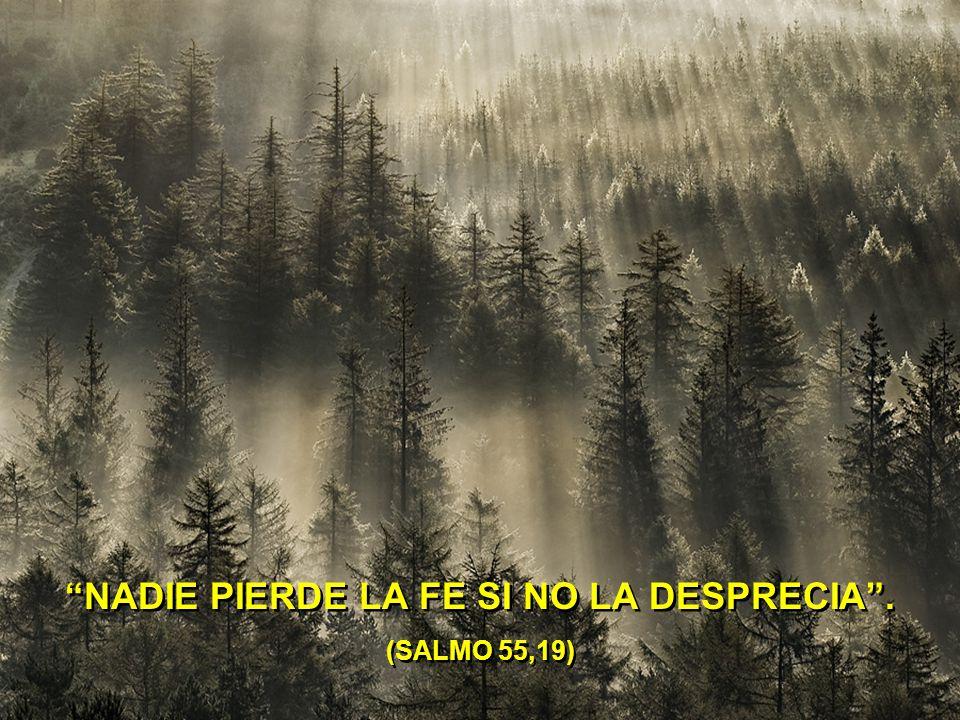 NADIE PIERDE LA FE SI NO LA DESPRECIA . (SALMO 55,19)