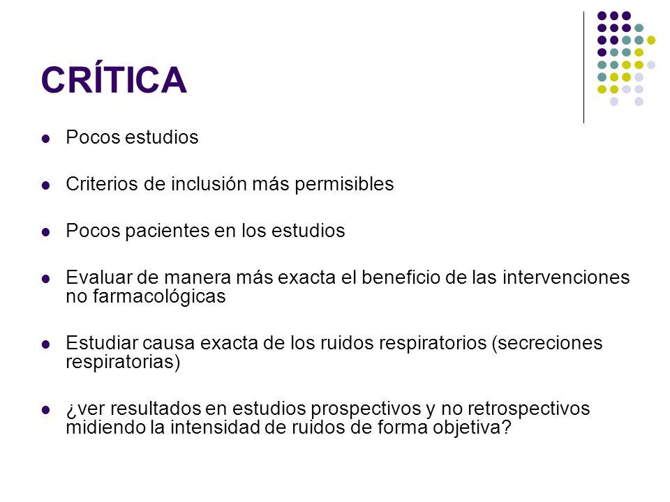 CRÍTICA Pocos estudios Criterios de inclusión más permisibles