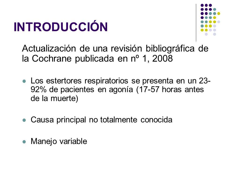 INTRODUCCIÓN Actualización de una revisión bibliográfica de la Cochrane publicada en nº 1, 2008.