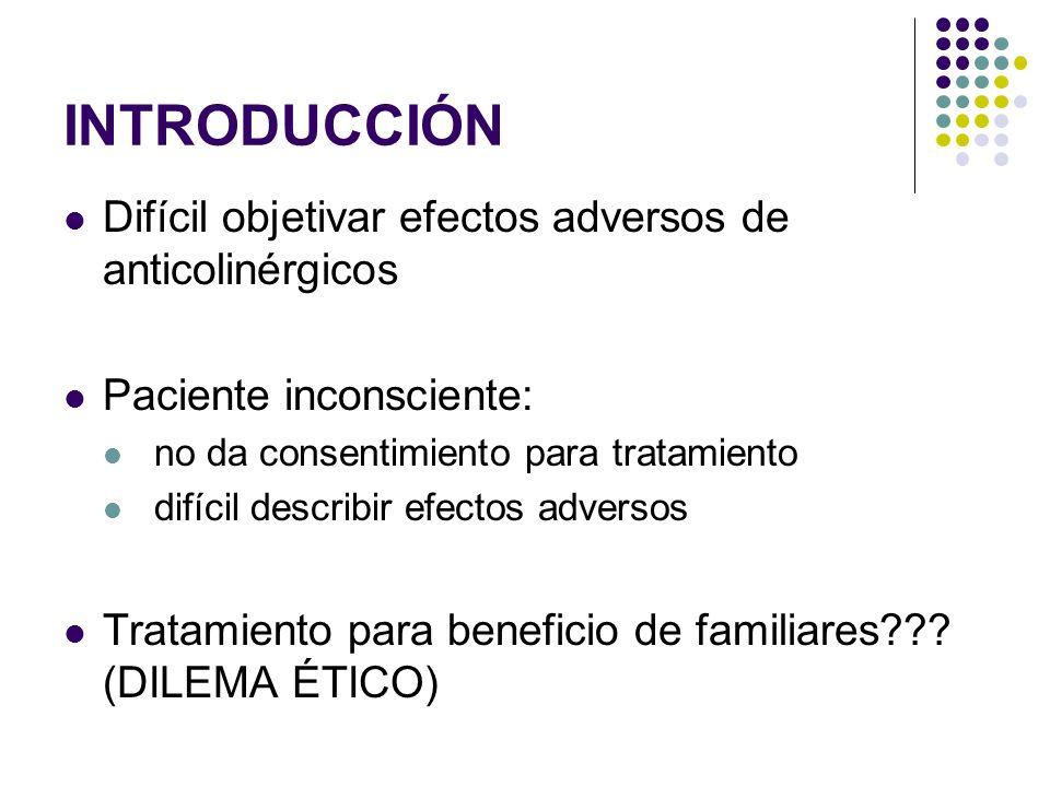 INTRODUCCIÓN Difícil objetivar efectos adversos de anticolinérgicos