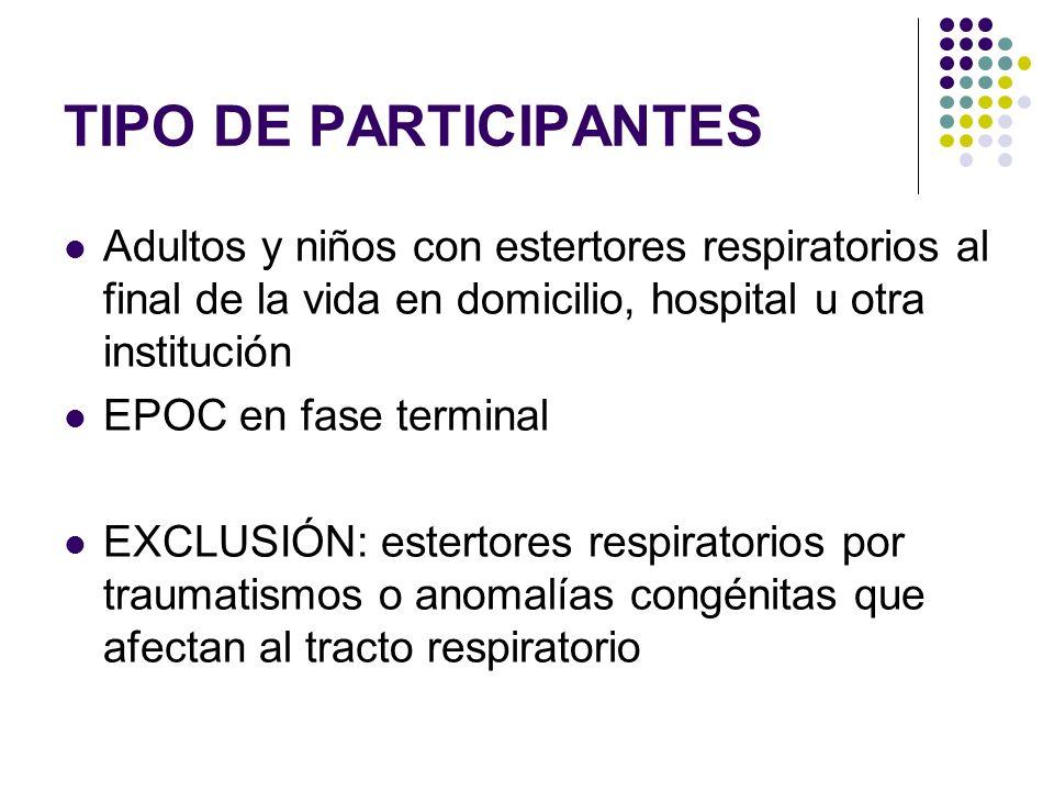 TIPO DE PARTICIPANTESAdultos y niños con estertores respiratorios al final de la vida en domicilio, hospital u otra institución.