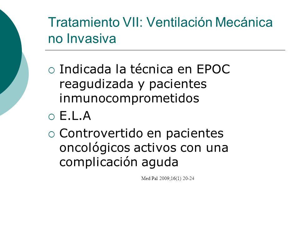 Tratamiento VII: Ventilación Mecánica no Invasiva