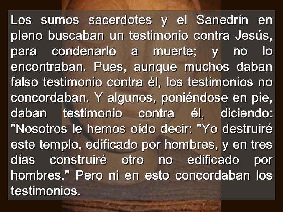 Los sumos sacerdotes y el Sanedrín en pleno buscaban un testimonio contra Jesús, para condenarlo a muerte; y no lo encontraban.