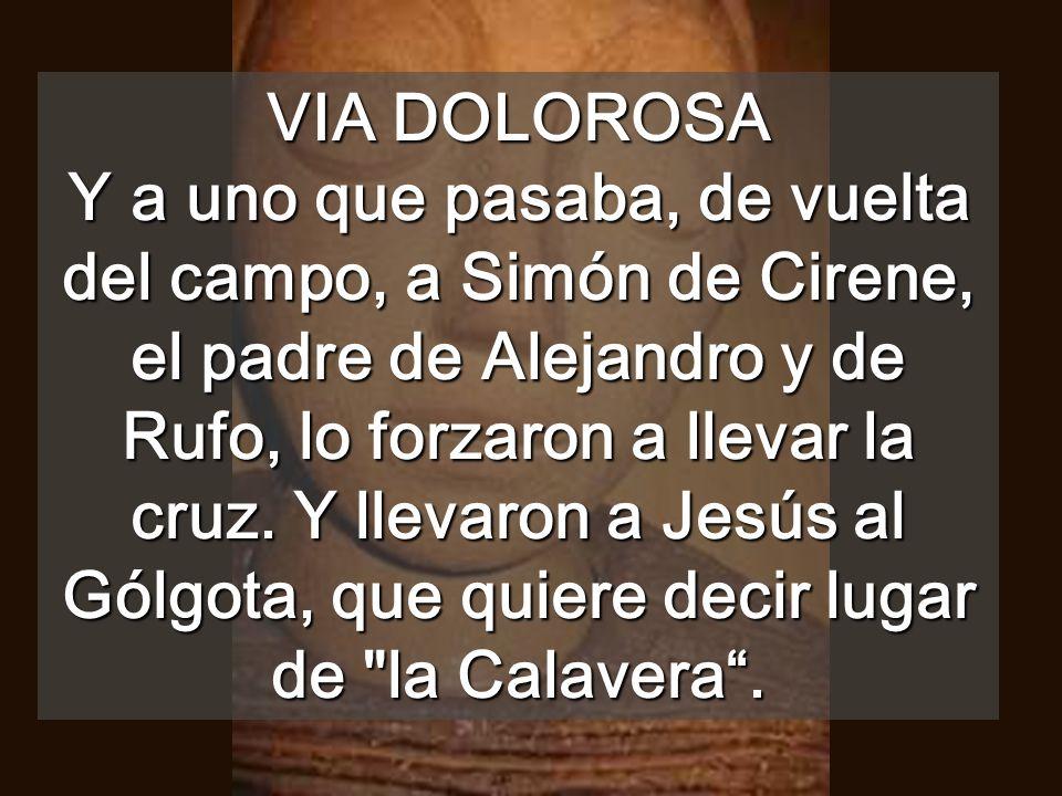 VIA DOLOROSA Y a uno que pasaba, de vuelta del campo, a Simón de Cirene, el padre de Alejandro y de Rufo, lo forzaron a llevar la cruz.