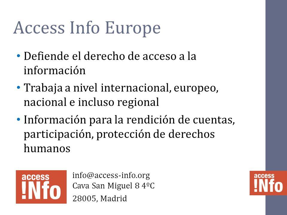 Access Info Europe Defiende el derecho de acceso a la información