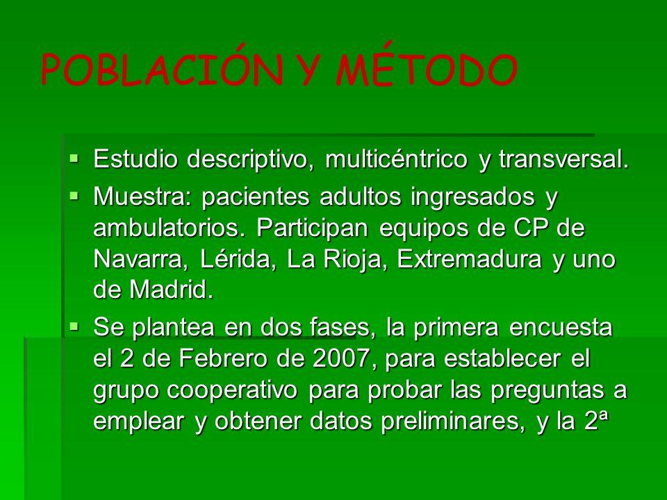 POBLACIÓN Y MÉTODO Estudio descriptivo, multicéntrico y transversal.