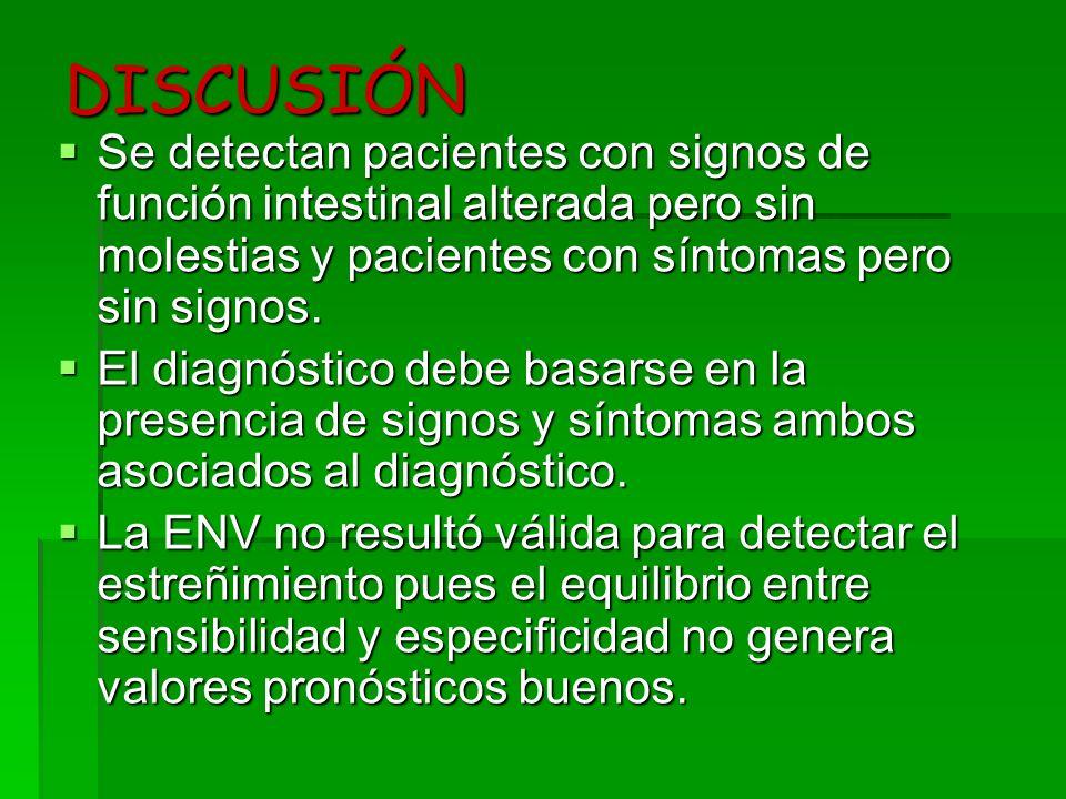 DISCUSIÓN Se detectan pacientes con signos de función intestinal alterada pero sin molestias y pacientes con síntomas pero sin signos.