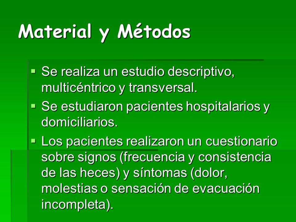 Material y Métodos Se realiza un estudio descriptivo, multicéntrico y transversal. Se estudiaron pacientes hospitalarios y domiciliarios.