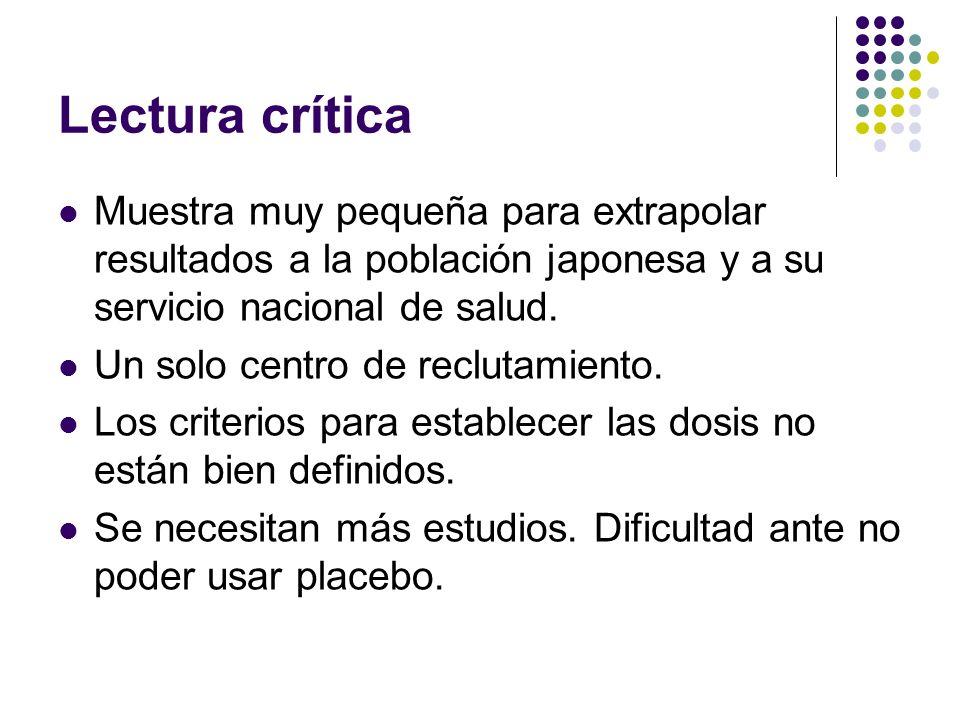 Lectura críticaMuestra muy pequeña para extrapolar resultados a la población japonesa y a su servicio nacional de salud.
