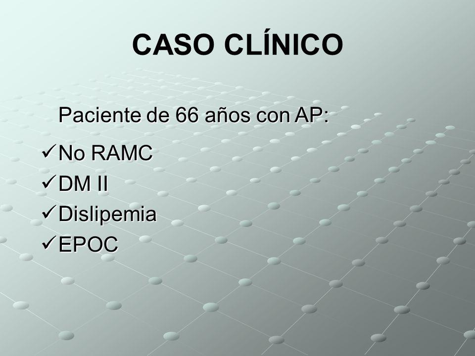 CASO CLÍNICO Paciente de 66 años con AP: No RAMC DM II Dislipemia EPOC