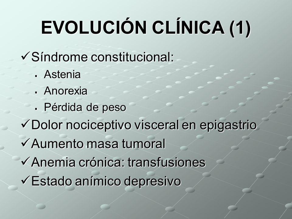 EVOLUCIÓN CLÍNICA (1) Síndrome constitucional: