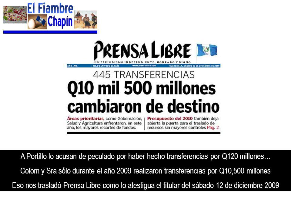 A Portillo lo acusan de peculado por haber hecho transferencias por Q120 millones…