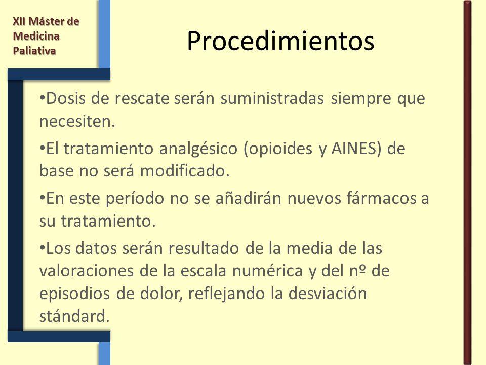 Procedimientos Dosis de rescate serán suministradas siempre que necesiten. El tratamiento analgésico (opioides y AINES) de base no será modificado.