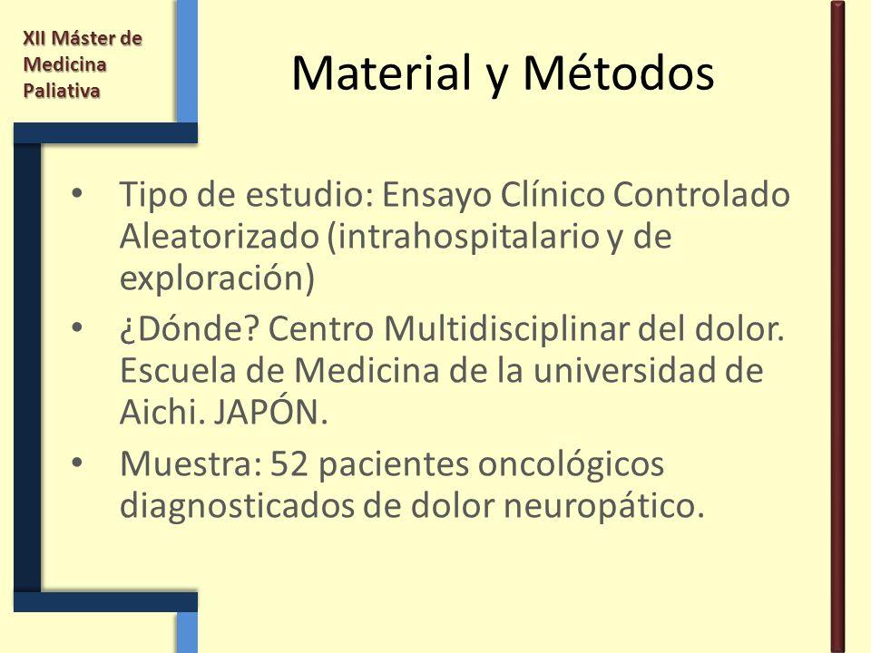 Material y Métodos Tipo de estudio: Ensayo Clínico Controlado Aleatorizado (intrahospitalario y de exploración)