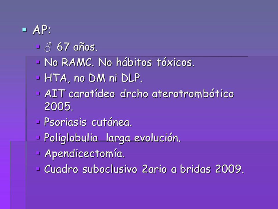 AP: ♂ 67 años. No RAMC. No hábitos tóxicos. HTA, no DM ni DLP.
