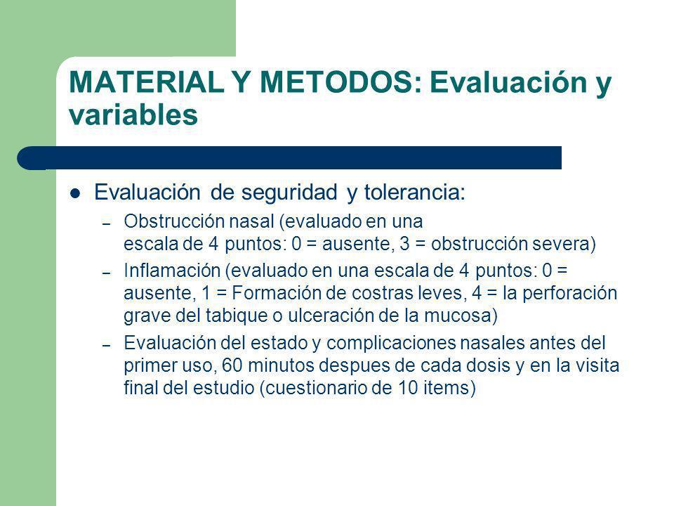 MATERIAL Y METODOS: Evaluación y variables