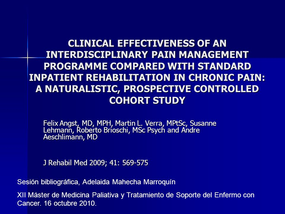 CLINICAL EFFECTIVENESS OF AN INTERDISCIPLINARY PAIN MANAGEMENT PROGRAMME COMPARED WITH STANDARD INPATIENT REHABILITATION IN CHRONIC PAIN: A NATURALISTIC, PROSPECTIVE CONTROLLED COHORT STUDY