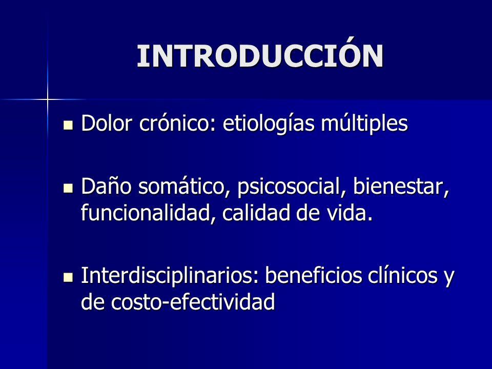 INTRODUCCIÓN Dolor crónico: etiologías múltiples