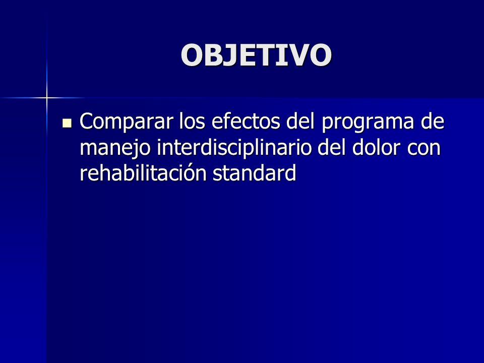OBJETIVO Comparar los efectos del programa de manejo interdisciplinario del dolor con rehabilitación standard.