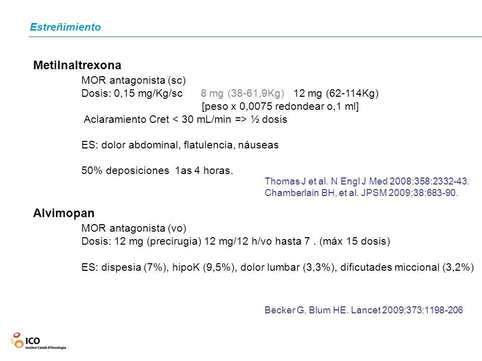 Metilnaltrexona MOR antagonista (sc) Alvimopan MOR antagonista (vo)
