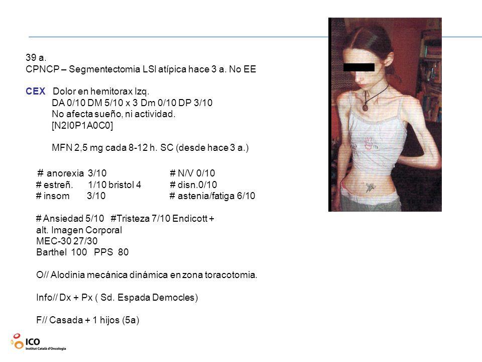 39 a. CPNCP – Segmentectomia LSI atípica hace 3 a. No EE. CEX Dolor en hemitorax Izq. DA 0/10 DM 5/10 x 3 Dm 0/10 DP 3/10.