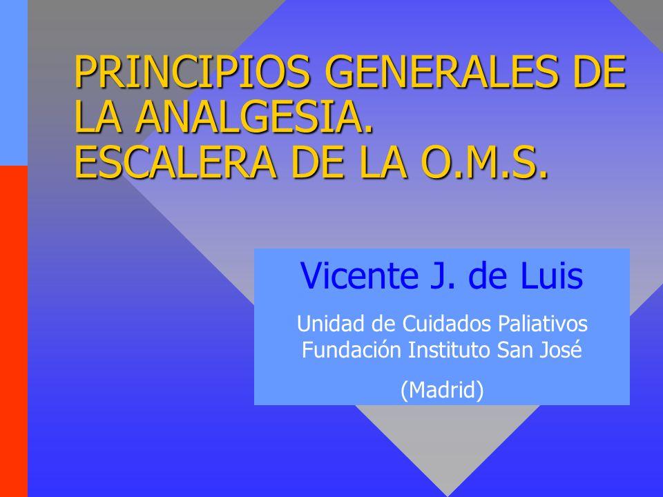 PRINCIPIOS GENERALES DE LA ANALGESIA. ESCALERA DE LA O.M.S.