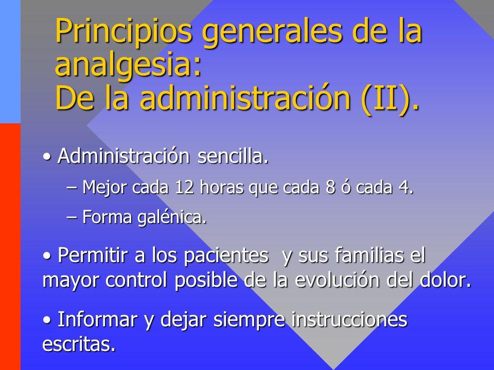 Principios generales de la analgesia: De la administración (II).