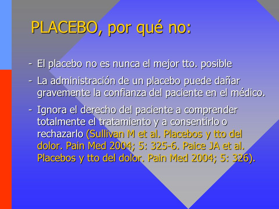PLACEBO, por qué no: El placebo no es nunca el mejor tto. posible