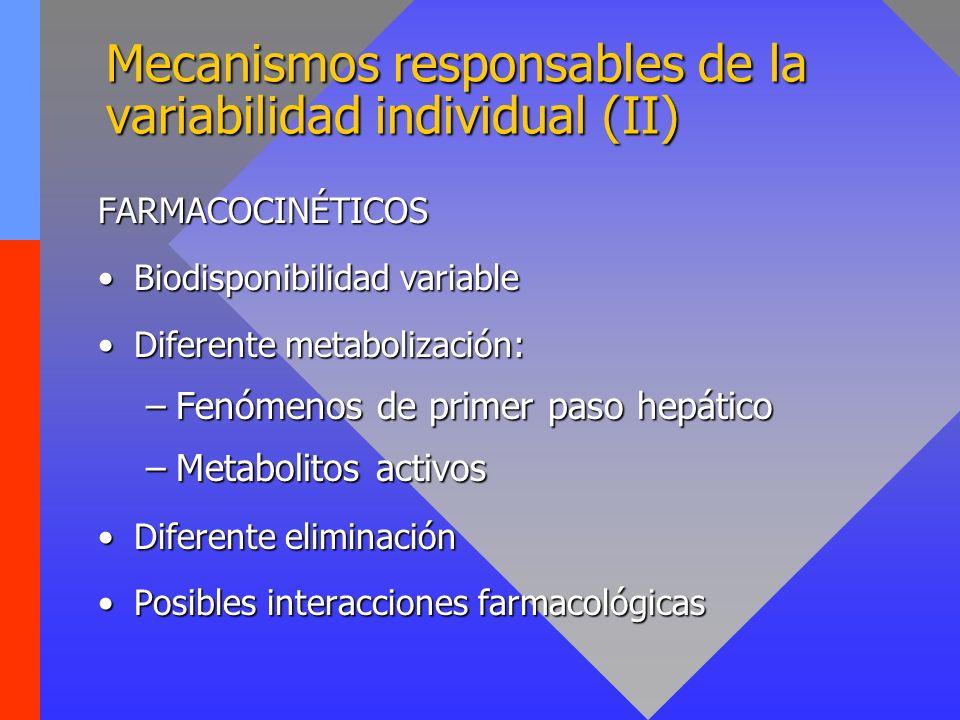 Mecanismos responsables de la variabilidad individual (II)
