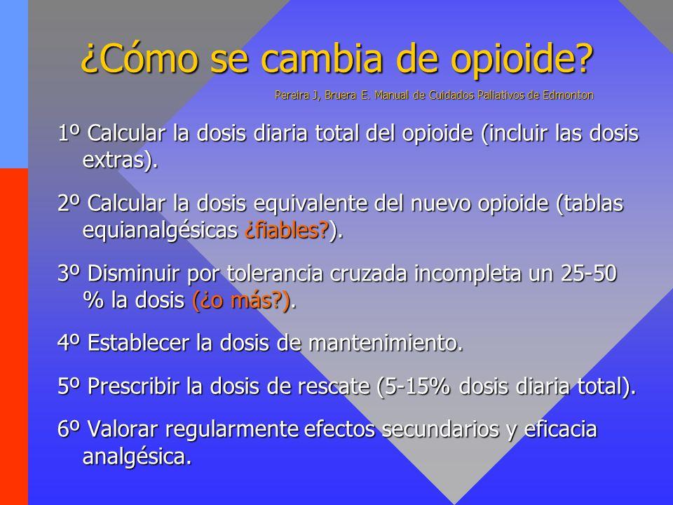 ¿Cómo se cambia de opioide. Pereira J, Bruera E
