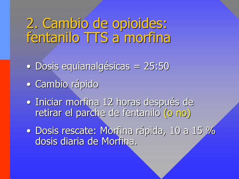 2. Cambio de opioides: fentanilo TTS a morfina