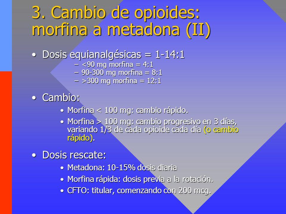 3. Cambio de opioides: morfina a metadona (II)