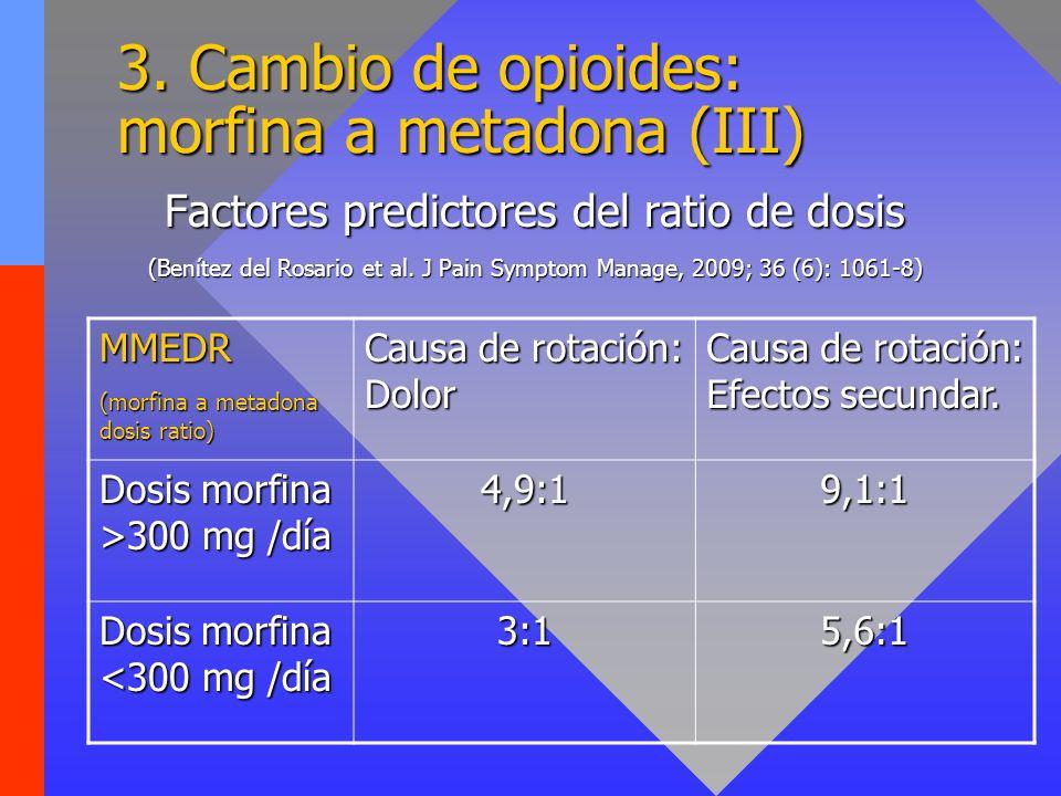 3. Cambio de opioides: morfina a metadona (III)