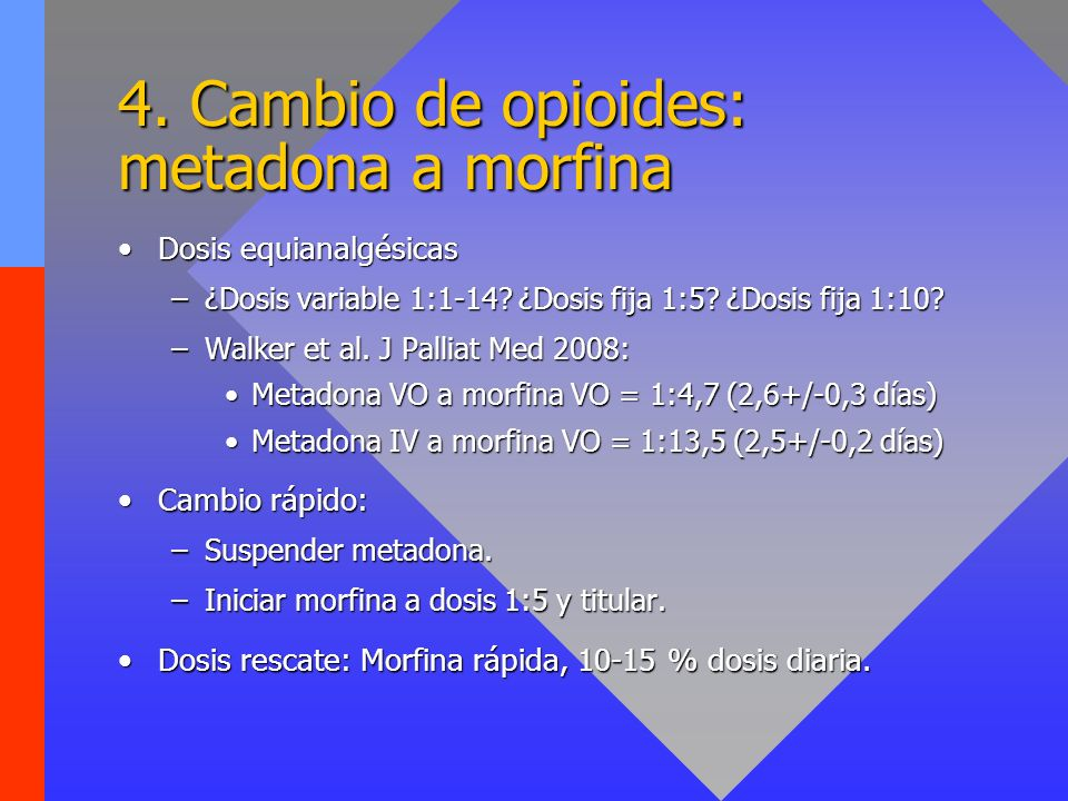 4. Cambio de opioides: metadona a morfina