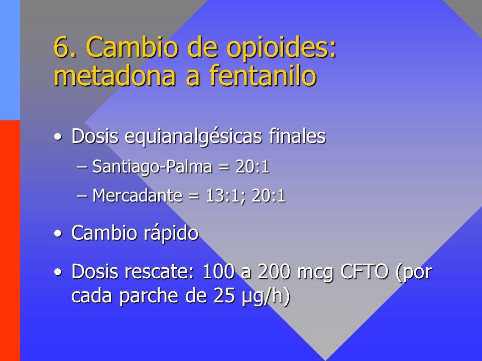 6. Cambio de opioides: metadona a fentanilo