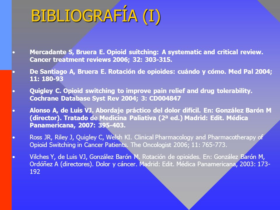 BIBLIOGRAFÍA (I)Mercadante S, Bruera E. Opioid suitching: A systematic and critical review. Cancer treatment reviews 2006; 32: 303-315.