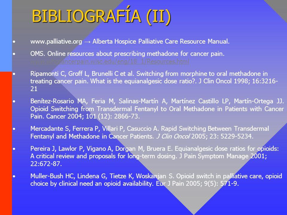 BIBLIOGRAFÍA (II) www.palliative.org → Alberta Hospice Palliative Care Resource Manual.