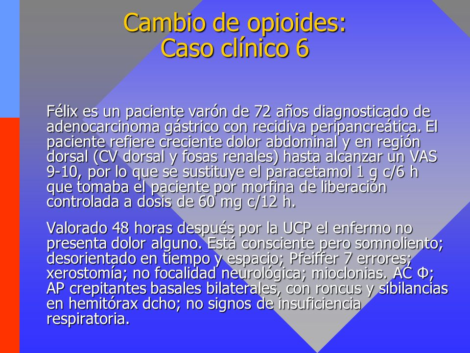 Cambio de opioides: Caso clínico 6