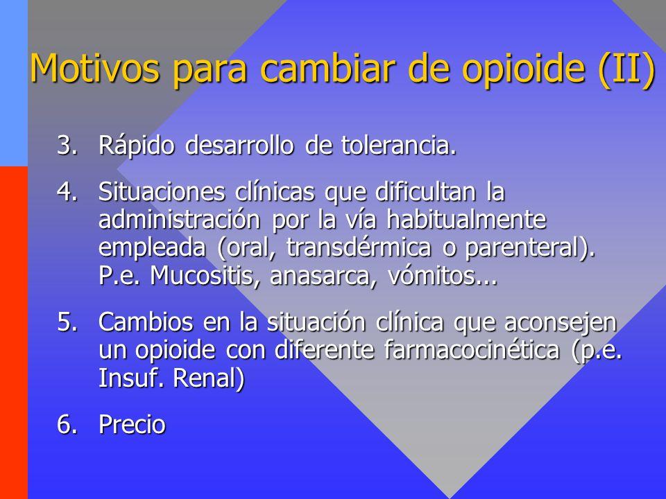 Motivos para cambiar de opioide (II)