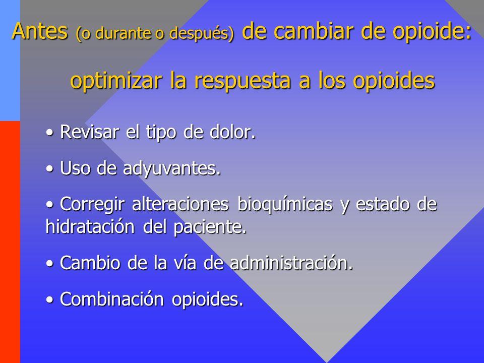 Antes (o durante o después) de cambiar de opioide: