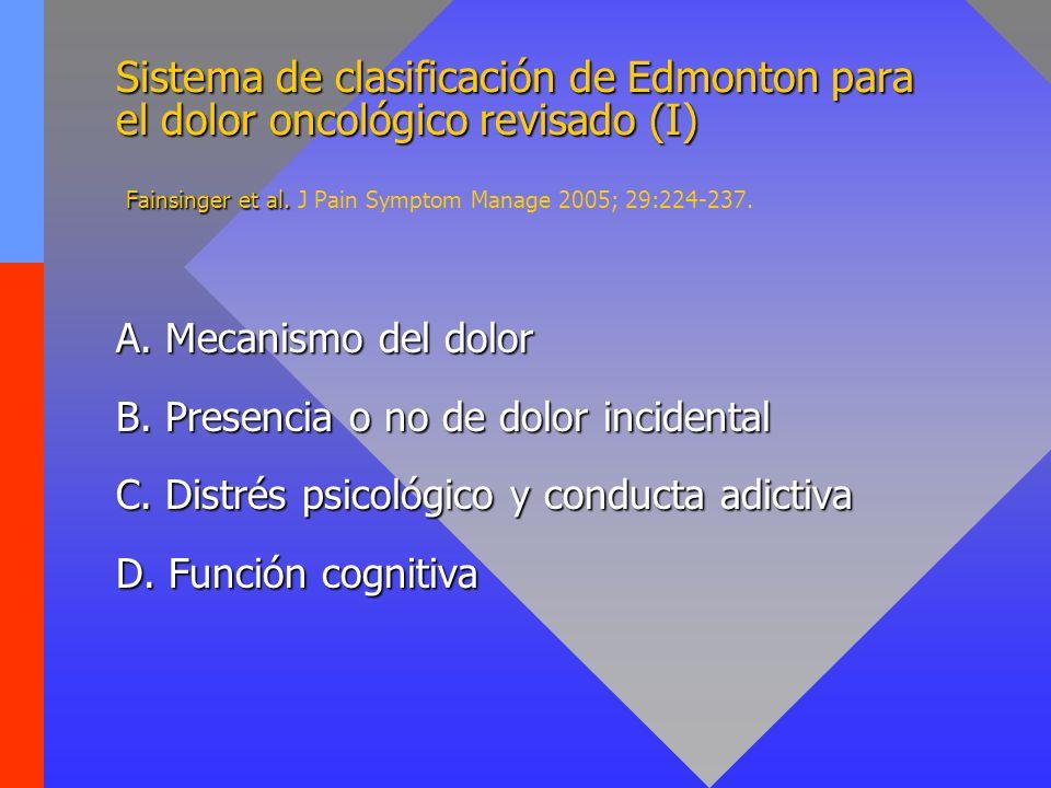 Sistema de clasificación de Edmonton para el dolor oncológico revisado (I) Fainsinger et al. J Pain Symptom Manage 2005; 29:224-237.