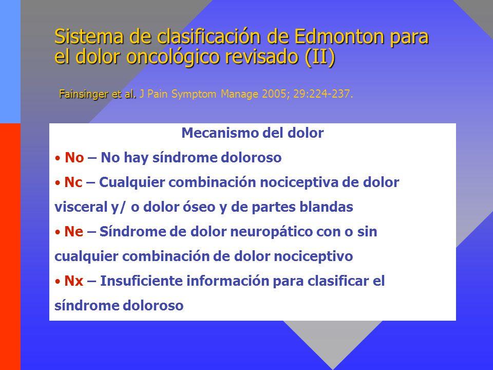 Sistema de clasificación de Edmonton para el dolor oncológico revisado (II) Fainsinger et al. J Pain Symptom Manage 2005; 29:224-237.