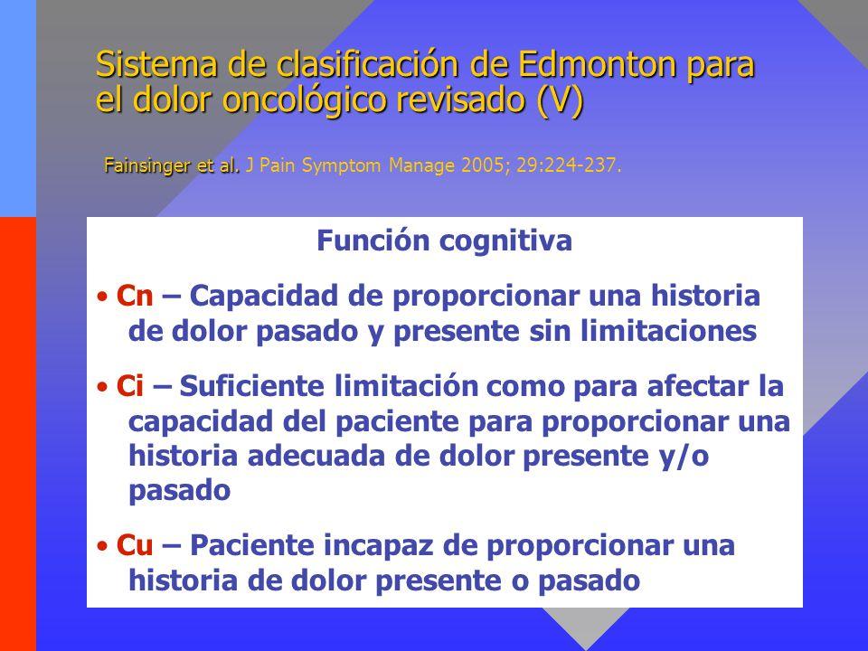 Sistema de clasificación de Edmonton para el dolor oncológico revisado (V) Fainsinger et al. J Pain Symptom Manage 2005; 29:224-237.