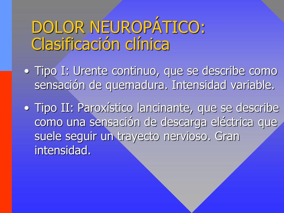 DOLOR NEUROPÁTICO: Clasificación clínica