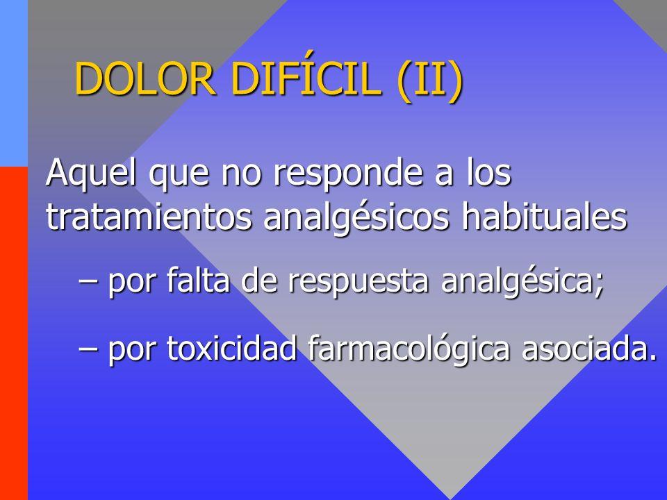DOLOR DIFÍCIL (II) Aquel que no responde a los tratamientos analgésicos habituales. por falta de respuesta analgésica;