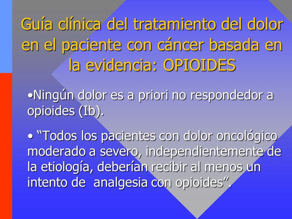 Guía clínica del tratamiento del dolor en el paciente con cáncer basada en la evidencia: OPIOIDES